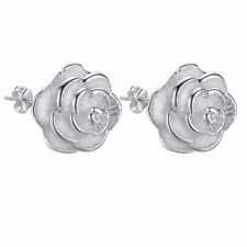 Sterling silver Stud Earring rose flower jewelry wedding Solid women lady gift