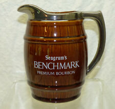 Vintage Seagram's Benchmark Bourbon Whiskey Advertising Pottery Pitcher