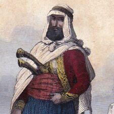 Gravure Couleur XIXe Kabylie Chef Tribu Kabyles Berbères Algérie 1846