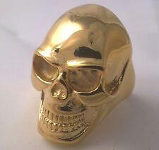 G-Filled Mens 18k gold MASSIVE skull ring gothic bikie heavy 27 grams biker 10.5