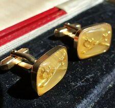 Vintage German Military Golden Cross Swords Cufflinks Offizier Manschettenknöpfe