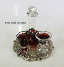 Wine Decanter & Glasses With Tray, Doll House Miniatures 1.12th Scale