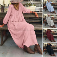 Womens Long Puff Sleeve V Neck Casual Loose Solid Cotton Kaftan Baggy Maxi Dress
