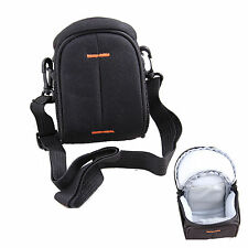 Black Nylon Shoulder Waist Camera Bag For Olympus STYLUS 1, SH-1 XH-60 SZ-17