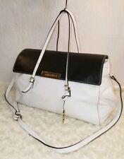 AB Asia Bellucci White and Black Leather Large Satchel Crossbody Shoulder Bag
