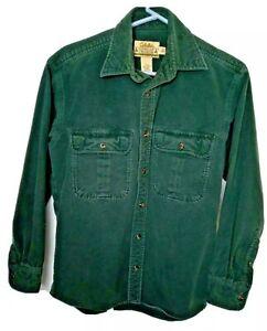 Cabela's Deerskin Soft Chamois Mens Small Green Long Sleeve Flannel button Shirt