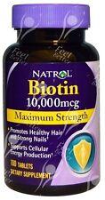 Natrol, Biotin, Maximum Strength 10000mcg x100tabs - HAIR LOSS, ENERGY, IMMUNITY