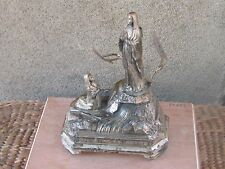 ANTIQUE FRENCH ART DECO RELIGIOUS SILVERED SPELTER MUSIC BOX LOURDES MARIA-WORKS