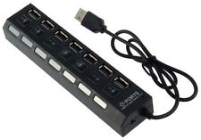 Black 7-Port USB 2.0 Hub with High Speed Adapter ON/OFF Switch for Laptop PC