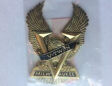 NOS Vintage V Twin Milwaukee Emblem Medallion Harley Davidson Gold Eagle Wings 2