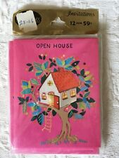 Pack Of 12 Vintage Norcross Open House Invitations Bird House Hot Pink Retro