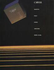 Carver Model M-400A Magnetic Field Power Amplifier Spec Sheet Brochure