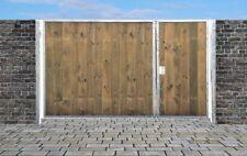 Einfahrtstor Sas Tor Verzinkt mit Pfosten & Holzfüllung 2-flügelig 300cm x 180cm