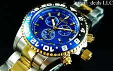 Invicta Men Reserve PRO DIVER SWISS ETA Chronograph Blue Dial 2Tone GP SS Watch