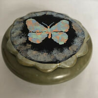 Studio Art Pottery Unique Round Bowl Dish W/lid Mint Green Butterfly  Ruffled