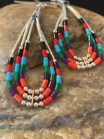 Liquid Silver Heishi Dangle Multicolor Turquoise Coral Sterling Earrings 2""