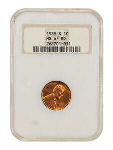 1939-S 1c NGC MS67 RD - Lincoln Cent - Old NGC Holder