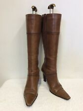 BRONX TAN LEATHER HEELED BOOTS SIZE 5/38