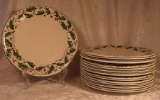 Set of 10 Holly Holiday China HHD4 Luncheon or Salad Plate 8 3/4""