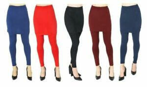 NEW Women Ladies Pencil Seamless Stretchy Full Length Leggings with Skirt office