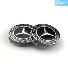 1x Mercedes Benz Alloy Wheel Centre Caps 75mm Badges Blac Hub Emblem - Fits All