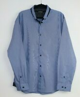 Connor Men's Slim Blue Striped Button Down Shirt Long Sleeve Cotton Blend Size L