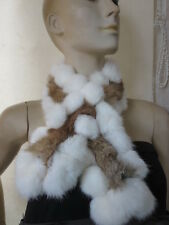 winter warm /This year latest style real handmade rabbit fur scarf/brown white