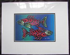 New matted art print - SALMON COUPLE by Coast Salish Cowichan artist JOE WILSON