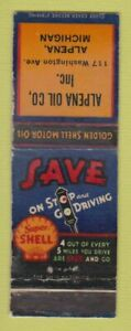 Matchbook Cover - Shell oil gas Alpena MI WORN LAMINATED