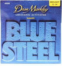 Dean Markley 2036 Blue Steel Acoustic Guitar Strings med light gauges 12-54