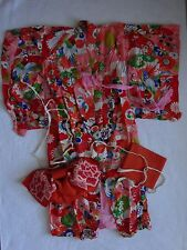 Vintage Japanese Childs Fukucho-Obi Kimono Back Bow with Original Box 3 pieces