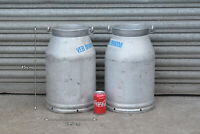2x Vintage old aluminium milk churn milkchurn milking pot 20L churn FREE POSTAGE