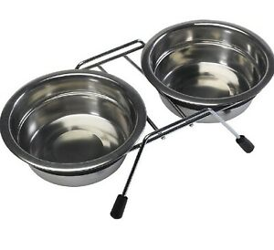 DOUBLE DINER - (17cm) - Bowls Stainless Steel Non Slip Food Water Dog kf Feeder