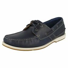 MENS CLARKS UK 9.5 G FULMEN ROW LACE UP NAVY MOCCASINS LEATHER DECK BOAT SHOES