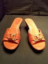 NWOB~ Wilsons Leather ~US9/40EU40~ Coral Leather Slides Sandals Gold Accents