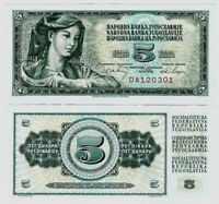 Jugoslawien Banknote UNC 5 Dinara 1968 Narodna Banka Jugoslavije P-81b SELTEN
