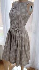 AD Beige circle dots spotty 50's style swing skater dress by NEXT 8uk sleeveles