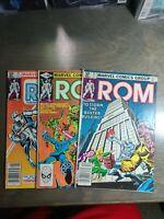 Rom vol-1 ~ 3 book lot #21,22,23  Marvel Comics ~ Bronze Age (1981)
