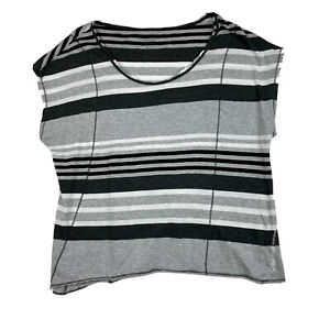 Calvin Klein Performance Quick Dry Shirt Womens Size Large Black Grey Striped