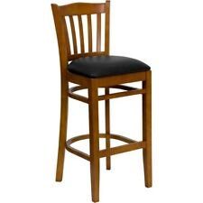 Flash Wood Restaurant Bar Stool, Black, Cherry - XU-DGW0008BARVRT-CHY-BLKV-GG