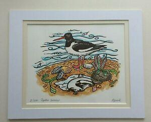 Unframed Original Linocut & Watercolour Painting: Oystercatcher, Sea Bird.