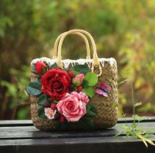 Vogue Women's Vintage Flowers Decor Straw Weave Handbags Fashion Tote Beach Bags