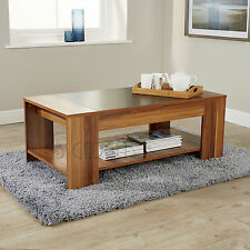Modern 2 Tier Wooden walnut Coffee Tea Table Living Room Cocktail Tables 18mm