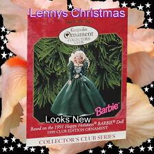 Hallmark Ornament, Barbie, 1999 1991 Happy Holidays Club Edition, New