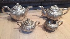 Yogya 800 Silver Southeast Asian Lotus Repousse 4 Piece Tea Set 82toz
