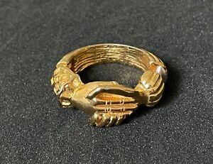 Vintage Diane Love Trifari ? Gold Tone Hand Shake Hinged Ring Sz: 6 M06