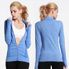 Women Gym Yoga Long Sleeve Shirts Quick Dry Fitness Running Full Zip-up Coat S-L