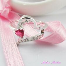 SP Heart Solitaire Cubic Zirconia Fashion Ring Size 8