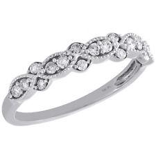 Stackable Right Hand Ring 1/4 Ct. 10K White Gold Diamond Teardrop Milgrain Edge