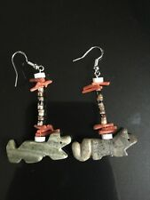 Handmade Zuni Fetish Animal Earrings Shell Heishi Red Coral Sterling Silver Fox
